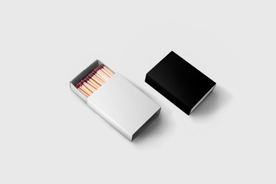 Matches box Mock-up isolated on soft gray background. Empty paper match box packaging mockup isolated.