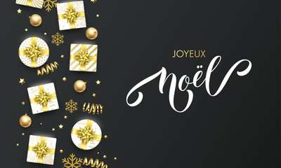 Joyeux Noel French Merry Christmas golden greeting card on premium black background. Vector Christmas calligraphy lettering, gifts, snowflakes and gold glitter stars