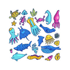 Colorful set of cartoon marine animals