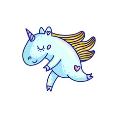 Adorable cartoon unicorn in blue color