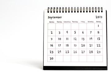 September 2019 calendar isolated on white background