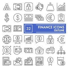 Finance thin line icon set, bank symbols collection, vector sketches, logo illustrations, money signs linear pictograms package isolated on white background, eps 10.