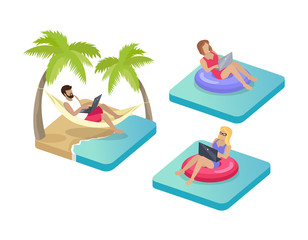 Freelance Workers on Beach Vector Illustration