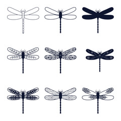 set with abstract images of dragonflies