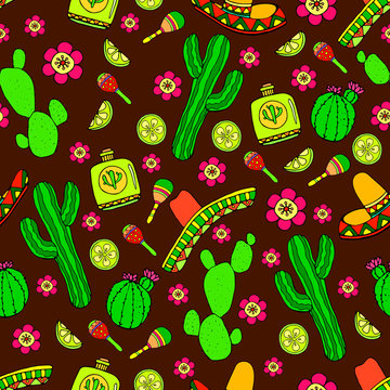 Colorful cartoon hand-drawn Doodles on the subject of Latin American style theme seamless pattern, brown background.