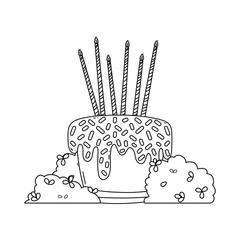 Birthdya cake on bushes in black and white