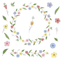Wreath with abstract flowers doodle. Round floral frame and elements for design on white background.
