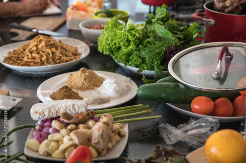 Fresh vegetables and spices to be used in a cooking class