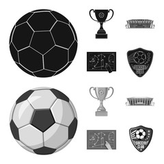 Vector illustration of soccer and gear symbol. Set of soccer and tournament stock symbol for web.