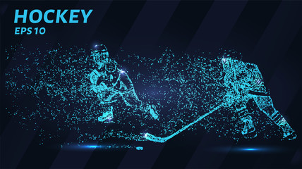 Hockey of blue glowing dots. Hockey players are fighting for the puck.