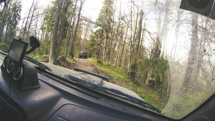 """Traveling by car in the mountains. Ukrainian expedition """"Carpathian border"""". April 2018. Offroad car. The beauty of the tops. Ukrainian Carpathian Mountains"""