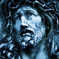 Wall Mural - Marble antique beautiful statue  of suffering of Jesus Christ crown of thorns. Religious tradition.