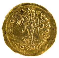 Ancient Roman gold tremissis coin of Emperor Leo I. Reverse.