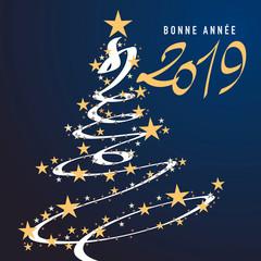 Carte de vœux 2019 pour la bonne année, avec un sapin dessiné en forme de guirlande, entouré d'étoiles sur un fond bleu
