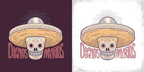 Skull in a sombrero decorated with patterns - a symbol of the day of the dead. Dia de los muertos character. Worn texture on separate layer.