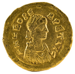 Ancient Roman gold tremissis coin of Emperor Leo I. Obverse.