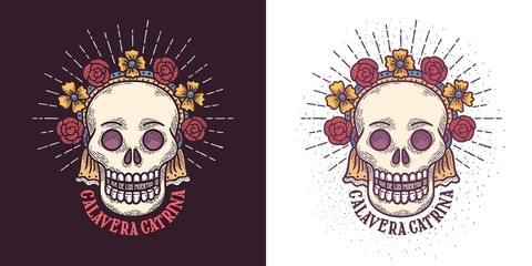 Day of the dead sugar skull  symbol.