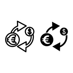 Exchange line and glyph icon. Currency vector illustration isolated on white. Dollar outline style design, designed for web and app. Eps 10.