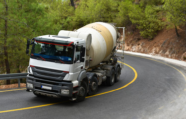 truck concrete mixer in mountains