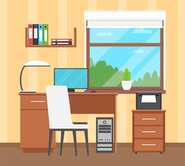 Desk. The interior of the workplace. Flat design. Vector illustration.