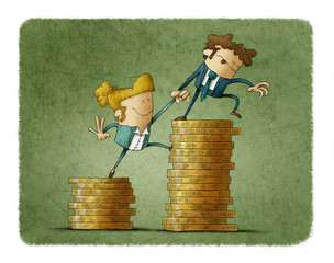 Income inequality concept shown with an illustration of a male and female characters and piles of coins