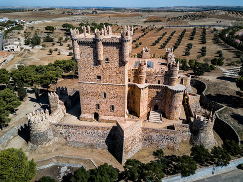 Aerial drone photograph of Guadamur castle, Spain.  A medieval fortress outside the city of Toledo