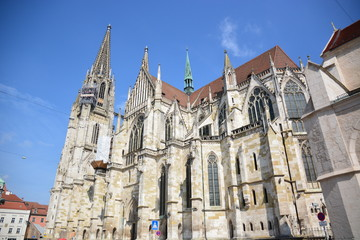 View in the historical town of Regensburg, Bavaria, Germany
