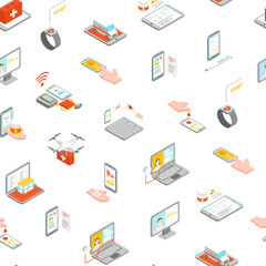 Digital Medicine Seamless Pattern Background 3d Isometric View. Vector
