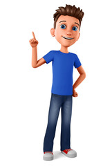 Cheerful guy points his finger to an empty space on a white background. 3d rendering. Illustration for advertising.