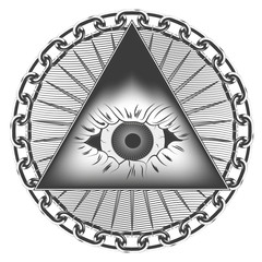 graphic pyramid with an eye of the skull in a circle of a metal chain. background of their wavy lines