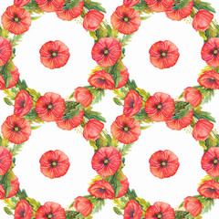 Pattern in the style of watercolor. Beautiful seamless pattern with poppies and wild herbs. Can be used as a background template for wallpaper, printing on fabrics, textiles and wedding printing.