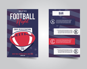 American football flyer. Sports party night layout, brochure. Modern professional poster. Rugby game event invitation. Stock vector template isolated