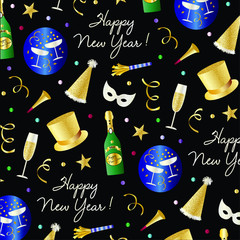 new years eve vector pattern with top hats, champagne masks and confetti