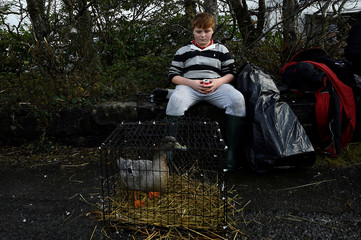A boy keeps an eye on a duck that he is selling at the annual Maam Cross fair in the Connemara region of Maam Cross in Galway