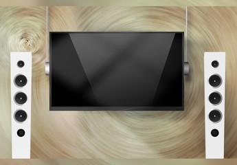 近代的でセンスの良いテレビ画面モックアップ