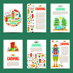 Set of camping cards. Travel hiking infographic background. Layout illustrations template of flyer, magazine, posters, book cover, banners with typography text. Vector illustration