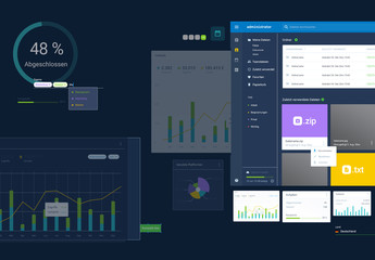 Set mit Komponenten einer Verwaltungsbenutzeroberfläche