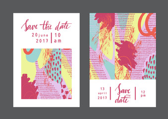 Set of creative universal artistic cards. Designs for prints, wedding, anniversary, birthday, Valentine's day, party invitations, posters, cards, etc. Vector. Isolated.