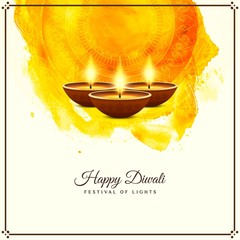 Abstract Happy Diwali religious greeting yellow background
