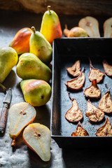 Homemade sun dried pears made of fresh fruits