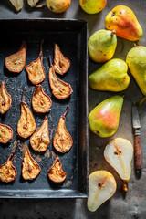 Tasty sun dried pears made of fresh fruits