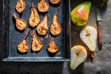Delicious sun dried pears made of fresh fruits