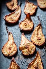 Delicious sun dried pears as a sweet snack