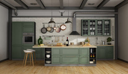 Retro green kitchen in a old room