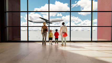 Happy family in airport near window looking on airplanes and waiting for time of flight at sunrise. 3D Rendering