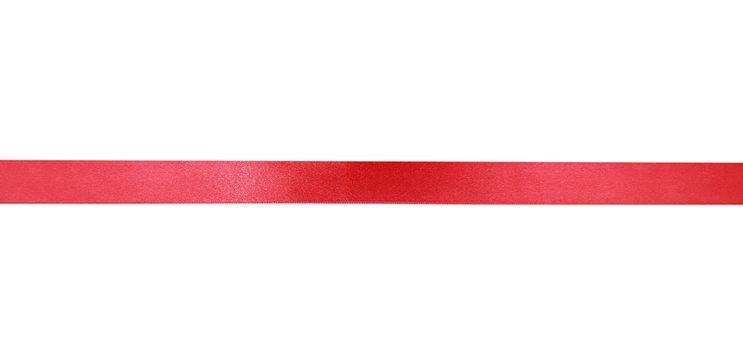 Red holiday flat horizontal ribbon isolated.