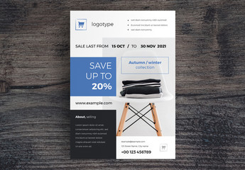 Sale Flyer Layout with Blue Accents