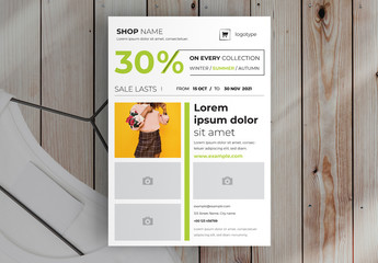 Product Flyer Layout with Green Accents