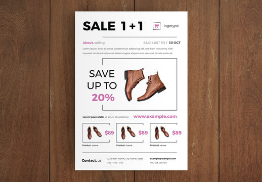 Product Flyer Layout with Pink Accents
