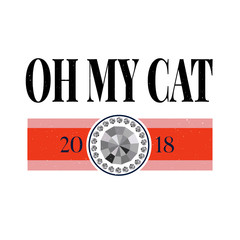 Oh my cat slogan with gold glitter for fashion t shirt